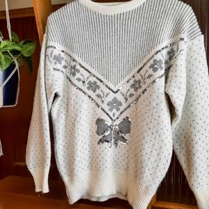 Vintage White Ugly Christmas Sweater Sparkley Sequins Bow Embellished Small